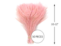 """50 Pieces – Dusty Pink Bleached & Dyed Peacock Tail Eye Wholesale Feathers (Bulk) 10-12"""" Long"""