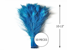 """50 Pieces – Turquoise Blue Bleached & Dyed Peacock Tail Eye Wholesale Feathers (Bulk) 10-12"""""""