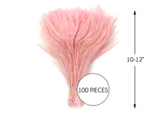 """100 Pieces – Dusty Pink Bleached & Dyed Peacock Tail Eye Wholesale Feathers (Bulk) 10-12"""" Long"""