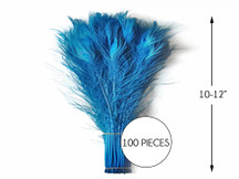 """100 Pieces – Turquoise Blue Bleached & Dyed Peacock Tail Eye Wholesale Feathers (Bulk) 10-12"""" Long"""