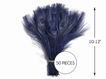 """50 Pieces – Navy Blue Bleached & Dyed Peacock Tail Eye Wholesale Feathers (Bulk) 10-12"""" Long"""