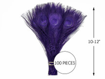 """100 Pieces – Eggplant Bleached & Dyed Peacock Tail Eye Wholesale Feathers (Bulk) 10-12"""" Long"""