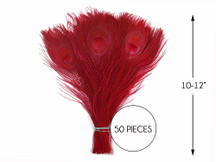 """50 Pieces – Red Bleached & Dyed Peacock Tail Eye Wholesale Feathers (Bulk) 10-12"""" Long"""