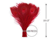"""100 Pieces – Red Bleached & Dyed Peacock Tail Eye Wholesale Feathers (Bulk) 10-12"""" Long"""