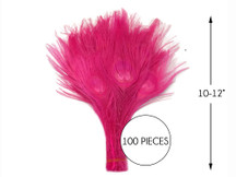 """100 Pieces – Hot Pink Bleached & Dyed Peacock Tail Eye Wholesale Feathers (Bulk) 10-12"""" Long"""