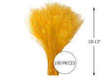 """100 Pieces – Golden Yellow Bleached & Dyed Peacock Tail Eye Wholesale Feathers (Bulk) 10-12"""" Long"""