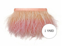 1 Yard - Peach Blossom Ostrich Fringe Trim Wholesale Feather (Bulk)