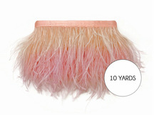 10 Yards - Peach Blossom Ostrich Fringe Trim Wholesale Feather (Bulk)