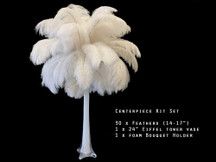 Centerpiece Kit - 30 Pieces Off White Ostrich Drabs All-In-One Centerpiece Feather Kit