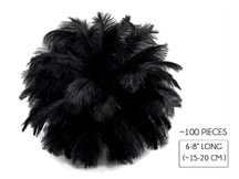 "100 Pieces - 6-8"" Black Wholesale Ostrich Drabs Feathers (Bulk)"