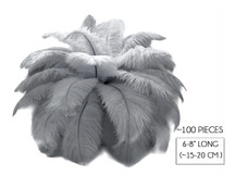 "100 Pieces - 6-8"" Grey Ostrich Drabs Body Wholesale Feathers (Bulk)"