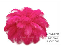 "100 Pieces - 6-8"" Hot Pink Ostrich Drab Wholesale Feathers (Bulk)"