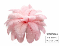 "100 Pieces - 6-8"" Light Pink Wholesale Ostrich Drabs Feathers (Bulk)"