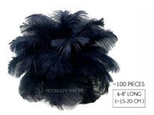"100 Pieces - 6-8"" Navy Blue Ostrich Drabs Body Wholesale Feathers (Bulk)"