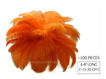"100 Pieces - 6-8"" Orange Wholesale Ostrich Drabs Feathers (Bulk)"