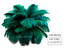 "100 Pieces - 6-8"" Peacock Green Ostrich Drabs Body Wholesale Feathers (Bulk)"