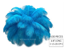 "100 Pieces - 6-8"" Turquoise Blue Ostrich Drab Wholesale Feathers (Bulk)"