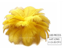 "100 Pieces - 6-8"" Sunshine Yellow Wholesale Ostrich Drabs Feathers (Bulk)"
