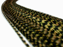 1 Piece - Moss Green Thin Long Grizzly Rooster Hair Extension Feather & Silicon Bead