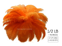 "1/2 Lb - 17-19"" Orange Large Ostrich Drab Feathers Wholesale (Bulk)"
