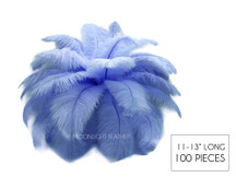 "100 Pieces - 11-13"" Light Blue Wholesale Ostrich Drabs Feathers (Bulk)"