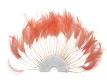 1 Piece - Salmon Pink Half Beaded Pinwheel Stripped Rooster Hackle Feather Pads