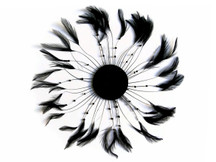 1 Piece - Black Whole Beaded Pinwheel Stripped Rooster Hackle Feather Plates