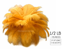 "1/2 Lb - 17-19"" Gold Ostrich Large Drab Wholesale Feathers (Bulk)"