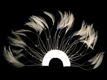 1 Piece - Ivory Half Beaded Pinwheel Stripped Rooster Hackle Feather Pads