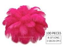 "100 Pieces - 8-10"" Hot Pink Ostrich Dyed Drab Body Wholesale Feathers (Bulk)"