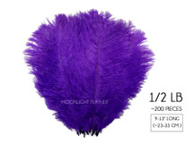 "1/2 Lb. - 9-13"" Purple Dyed Ostrich Body Drab Wholesale Feathers (Bulk)"