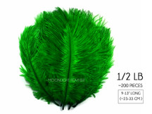 "1/2 Lb. - 9-13"" Kelly Green Dyed Ostrich Body Drab Wholesale Feathers (Bulk)"