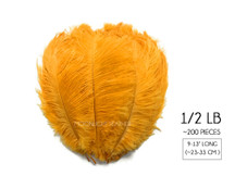 "1/2 Lb. - 9-13"" Golden Yellow Dyed Ostrich Body Drab Wholesale Feathers (Bulk)"