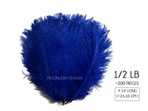 "1/2 Lb. - 9-13"" Royal Blue Dyed Ostrich Body Drab Wholesale Feathers (Bulk)"