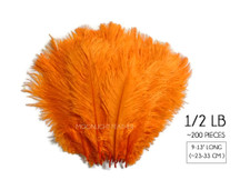 "1/2 Lb. - 9-13"" Orange Dyed Ostrich Body Drab Wholesale Feathers (Bulk)"
