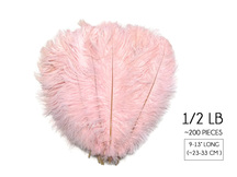 "1/2 Lb. - 9-13"" Baby Pink Dyed Ostrich Body Drab Wholesale Feathers (Bulk)"