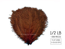 "1/2 Lb. - 9-13"" Brown Dyed Ostrich Body Drab Wholesale Feathers (Bulk)"