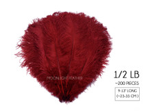 "1/2 Lb. - 9-13"" Burgundy Dyed Ostrich Body Drab Wholesale Feathers (Bulk)"