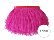 1 Yard - Hot Pink Ostrich Fringe Trim Wholesale Feather (Bulk)