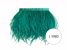 1 Yard - Ocean Green Ostrich Fringe Trim Wholesale Feather (Bulk)