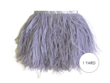 1 Yard - Grey Ostrich Fringe Trim Wholesale Feather (Bulk)