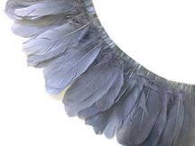 1 Yard - Silver Gray Goose Pallet Parried Dyed Feather Trim