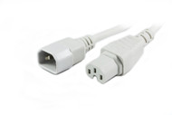 1M IEC C14 to C15 High Temperature Power Cable in White