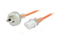 1M Wall Plug to IEC C13 Medical Power Cable in Orange