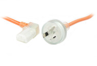 3M Wall Plug to Right Angle IEC C13 Medical Power Cable in Orange
