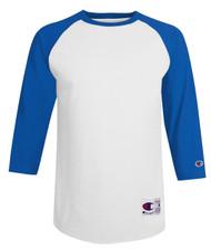 White/Team Blue Champion T137 Raglan Baseball Tee | Athleticwear.ca