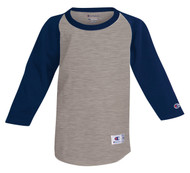 Oxford Gray/Navy Front Champion T13Y Youth Raglan Baseball Tee | Athleticwear.ca