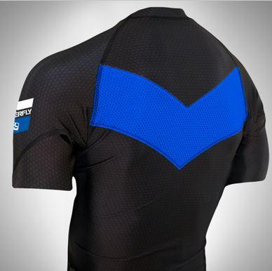 Do or Die Blue Ranked rashguard  back of rashguard short sleeve available at www.thejiujitsushop.com  Enjoy Free Shipping from The Jiu Jitsu Shop today!