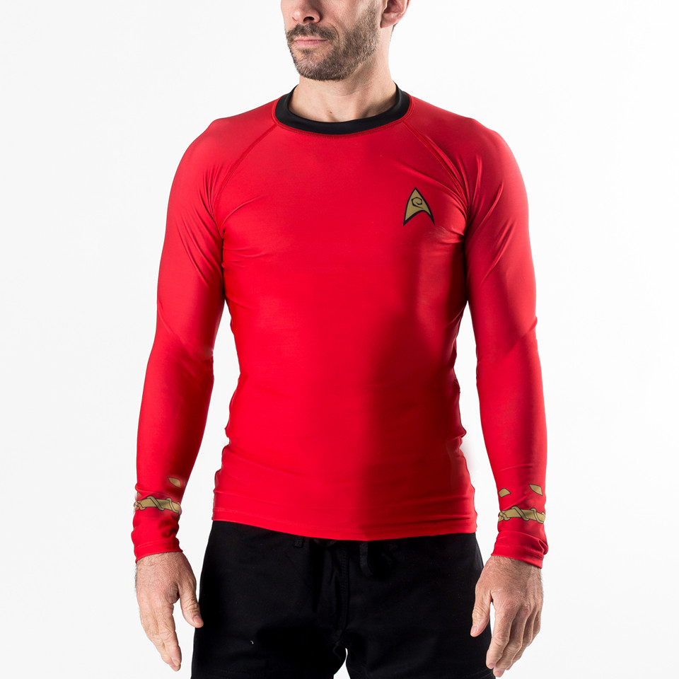 Fusion FG Stark Trek rashguard in red looking forward.  Unique Star trek apparel available at www.thejiujitsushop.com  Enjoy Free Shipping on all star trek apparel at The Jiu Jitsu Shop