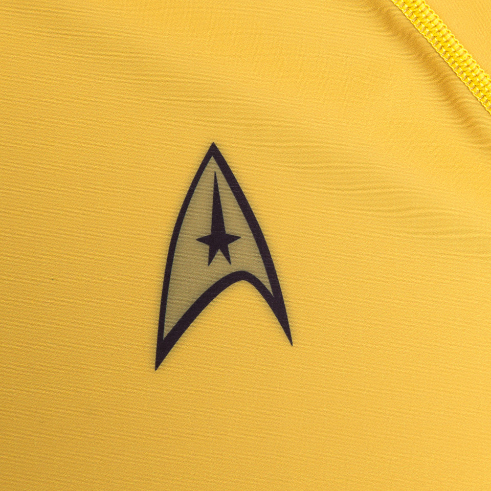 Zoom in to the patch on the fusion star trek rashguard. Attention to detail is the name of the game.